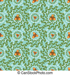 Seamless background with leaves and acorns - Seamless...
