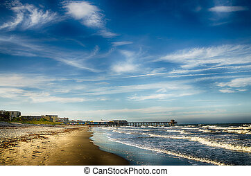 Pier at Cocoa Beach, FL - Historic fishing pier and beach...