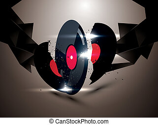 abstract background with vinyl disc