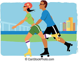 Roller skaters - Young couple on roller skates jogging,...