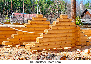 Harvesting roof for log houses from round timber with the...