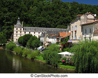 Village Brantome on Dronne river