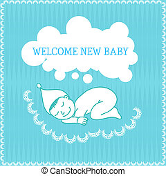 New baby boy shower invitation Vector illustration