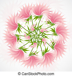 Colorful mandala background with abstract lotus flowers