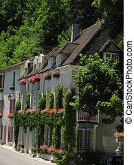 House, flower, Village Brantome