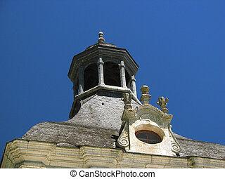 Abbey, turret, Village Brantome