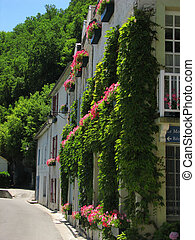 House, flowers, Village Brantome