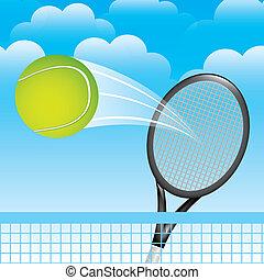 tennis landscape over sky background vector illustration