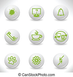 Grey balls with green icon and shadow set 26