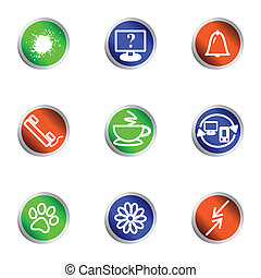 Glossy icon set - Set of 9 glossy web icons (set 26). Color...
