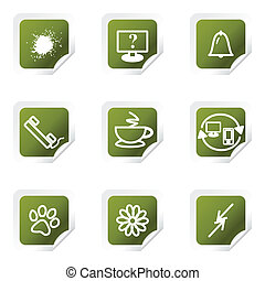 Glossy icon set - Set of 9 glossy web icons (set 26). Green...