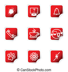 Glossy icon set - Set of 9 glossy web icons (set 26). Red...