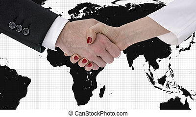 Handshake with map of the world in background - Business man...