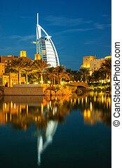 DUBAI, UAE-NOVEMBER 15: Night view of Burj al Arab hotel (7...