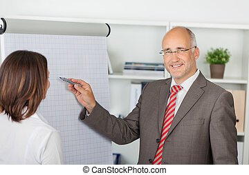 businessman pointing pen on flipchart - businessman in...