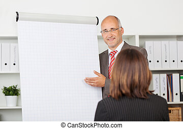 Businessman Giving Presentation To Female Coworker -...