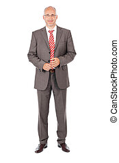Confident Businessman Standing Over White Background - Full...