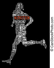 Person running nutrition - Text, word cloud, word collage...