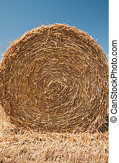 Close up of the straw bale - Close up of the golden straw...