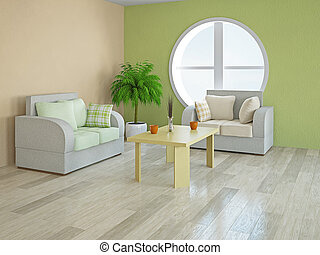 Armchairs with green and orange pillows near a round window