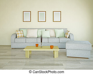 Sofa with pillows - Sofa with green and orange pillows in...