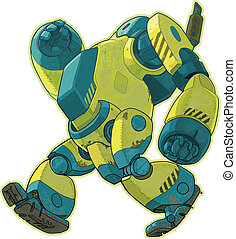 Giant Walking Yellow Robot Vector C - A vector cartoon of a...