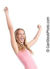 Happy beautiful teenager girl with her arms raised isolated...
