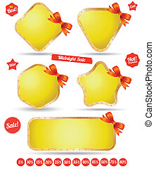 Tag banner iron gold with bow
