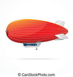Red dirigible balloon on a white background. Vector...