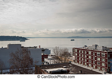 Puget Sound seen from Belltown Seattle, WA