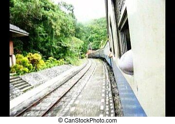 Train Running into Tunnel - Train Running on Railway into...