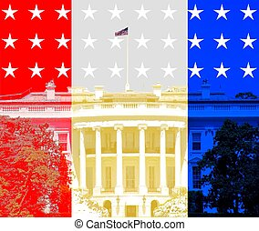 red white and blue white house icon