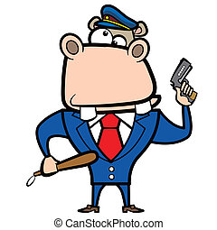 cartoon hippo police officer with gun.