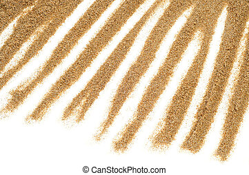 sand lines on a white background - closeup of a pattern made...