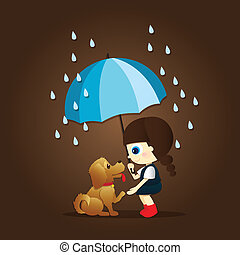 little girl and cute puppy during the rain - Little girl...