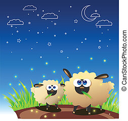 Sheep once upon starry night - Two sheep and Starry Night