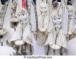 cute clay ceramic angel figures alive fair market - amazing...
