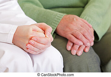 Anxious and relaxed hands - Clasped anxious young and...