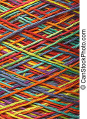 Multicolored yarn roll - The multicolored yarn used for...