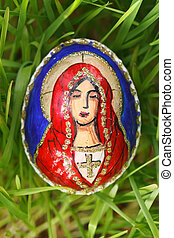 Religious elements painted on an easter egg - Easter egg...