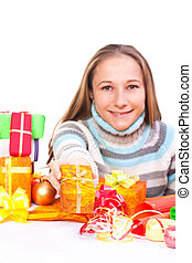 Sweet young girl with christmas present - Portrait of sweet...