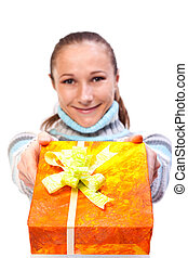 Sweet young girl with christmas presents - Portrait of sweet...