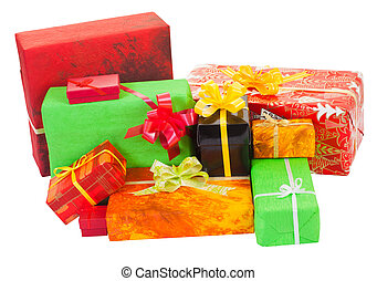 Many isolated christmas present on white background