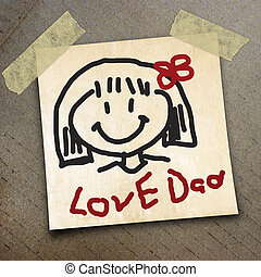 packing paper - text Love dad on the the packing paper box...