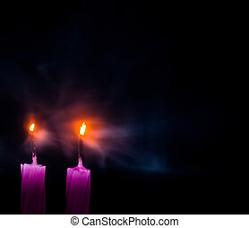 Blown Out Candles - Blown out candle flames with glowing...