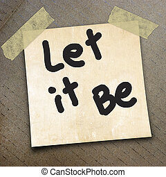 packing paper - word let it be on the packing paper box...