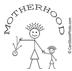 Motherhood - Comical representation of Motherhood isolated...