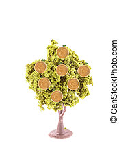 money growing on tree - small miniature tree growing golden...