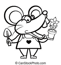 cartoon mouse landscaper with a plant