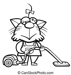cartoon cat housewife with a vacuum cleaner